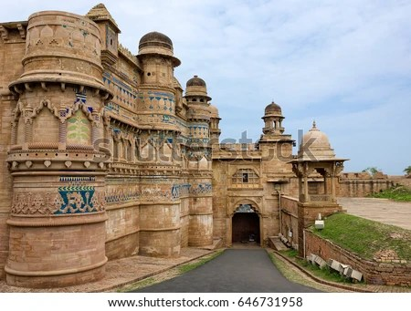 Gwalior Fort is an 8th century hill fort near Gwalior, India. The fort consists of a defensive structure and two main palaces built by Man Singh.