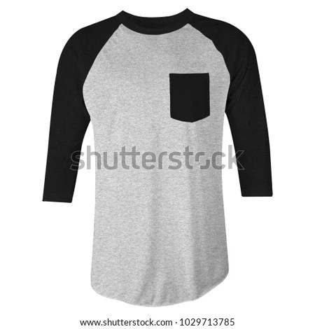 Blank Tshirt Raglan 34 Sleeves Pocket Stock Photo (Royalty Free - pocket t shirt template