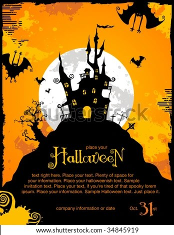 Halloween Invitation Background Spooky Castle Bats Stock Vector - halloween invitation