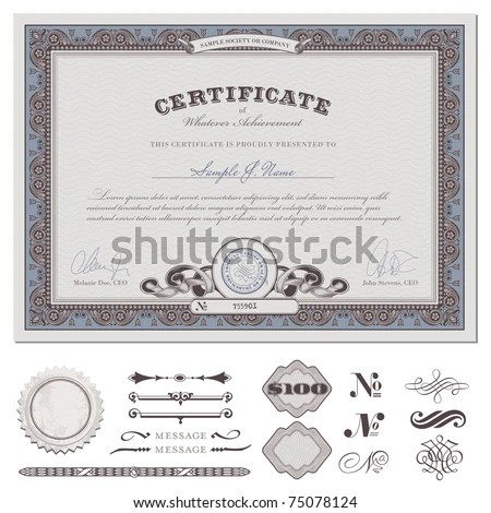Certificate Coupon Template Detailed Border Additional Stock Vector - coupon format