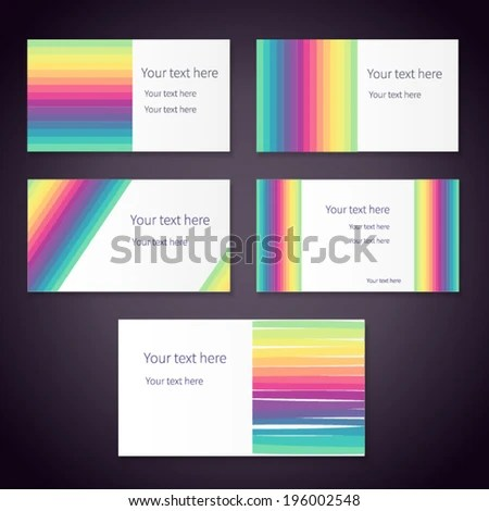 Set Bright Rainbow Business Cards Place Stock Vector 196002548