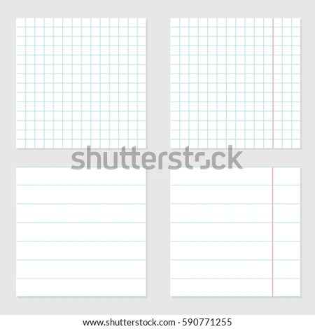 Notebook Paper Texture Cell Lined Template Stock Vector 590771255