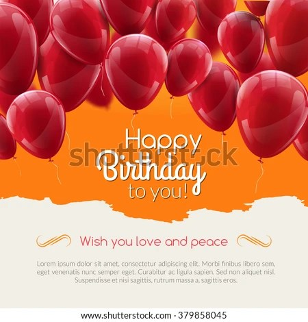 Vector Happy Birthday Card Red Balloons Stock Vector (2018