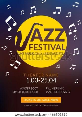 Vector Musical Flyer Jazz Festival Music Stock Vector HD (Royalty - music flyer template