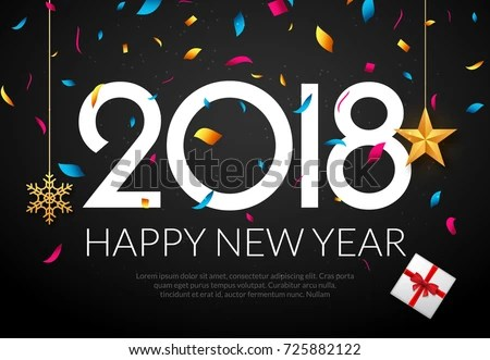 Happy New Year 2018 Background Decoration Stock Vector (2018