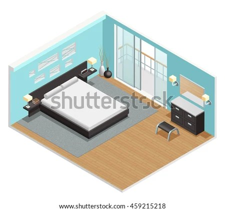 Bedroom Interior Isometric View King Size Stock Vector 459215218 - isometric view
