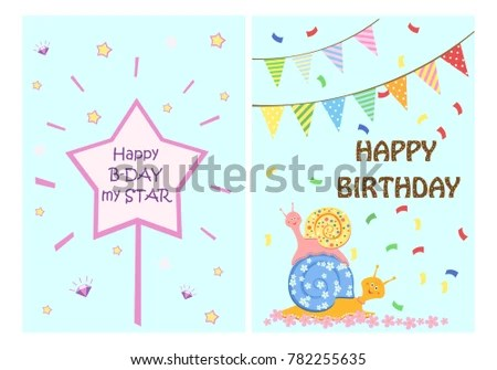 Happy Birthday Greeting Cards Templates Kids Stock Photo (Photo