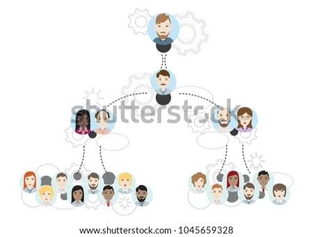 Company Organization Hierarchy Chart Vector Illustration Stock