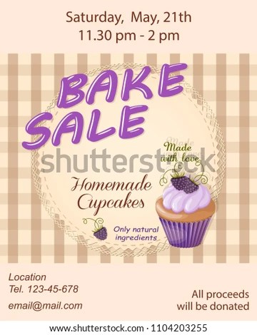 Colorful Flyer Template Bake Sale Promotion Stock Vector 1104203255