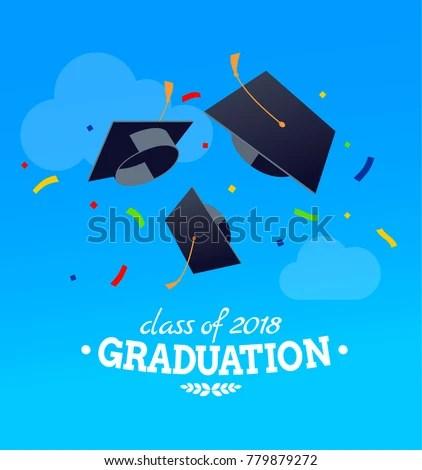 Black Graduate Caps Confetti On Against Stock Vector (2018 - congratulation graduation