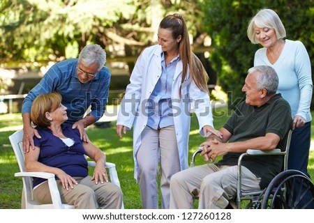 Many Seniors Relaxing Park Nursing Home Stock Photo (Royalty Free