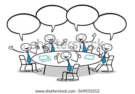 Cartoon Business Team Group Sitting Talking