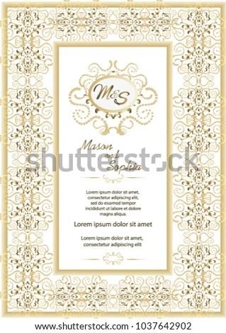 Vintage Style Wedding Invitation Card Template Stock Vector