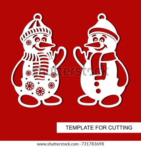 Silhouette Snowman Templates Laser Cutting Wood Stock Vector HD