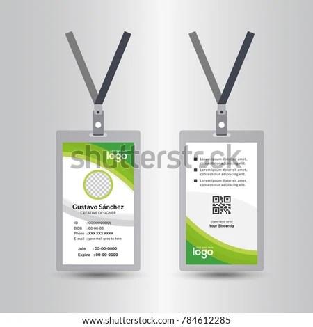Green Template Staff Employee Identification Card Stock Vector