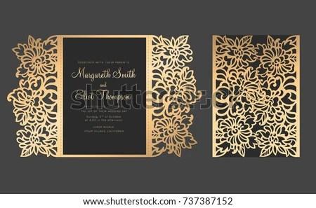 Laser Cut Gate Fold Card Floral Stock Photo (Photo, Vector