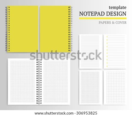 Template Notepad Design Cover Papers Stock Vector 306953825 - notepad paper template