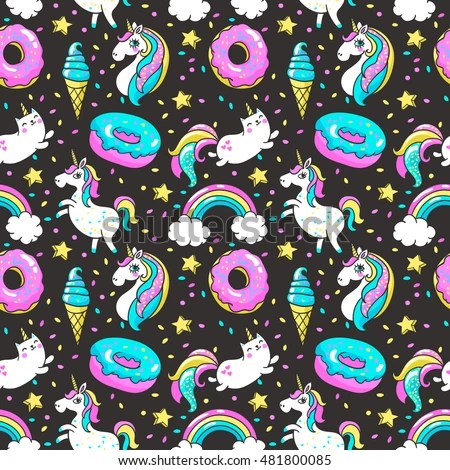 Donut Wallpaper Cute Seamless Pattern Unicorns Donuts Rainbow Confetti Stock