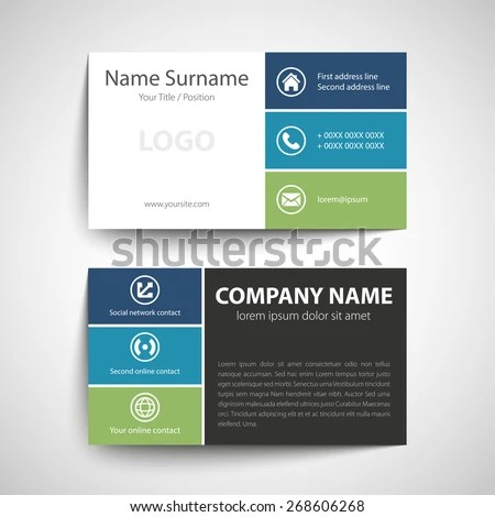 Modern Simple Business Card Template Vector Stock Vector 268606268 - name card format