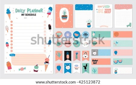 Scandinavian Weekly Daily Planner Template Organizer Stock Vector - daily planning template