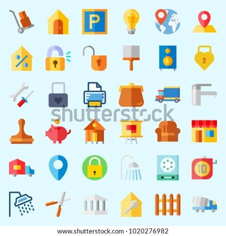 Icons About Real Assets Measuring Online Stock Vector (Royalty Free