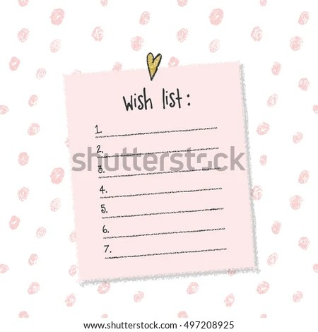Christmas Wish List Template Hand Drawn Stock Vector 497208925