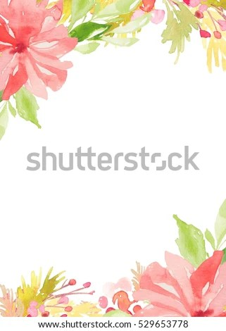 Blank Watercolor Flower Invitation Template Background Stock