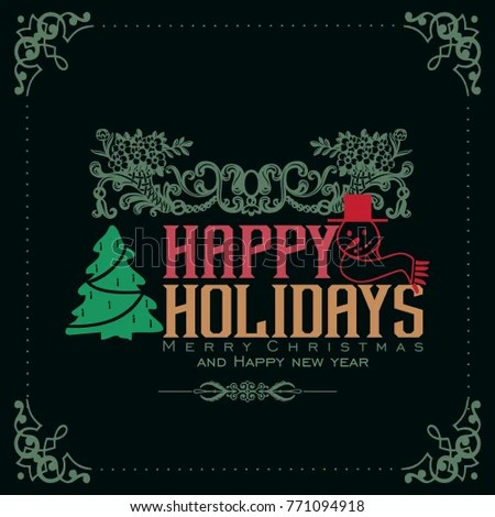 Ornate Square Winter Holiday Greeting Cards Stock Vector (Royalty