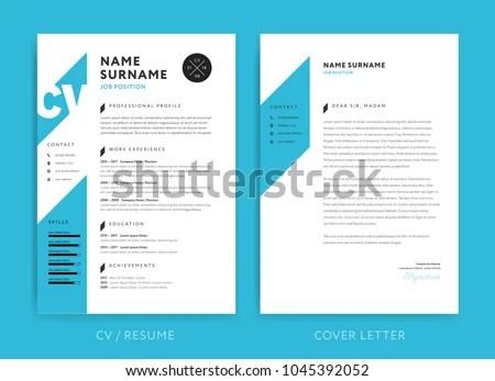 Creative CV Resume Template Blue Background Stock Vector 1045392052