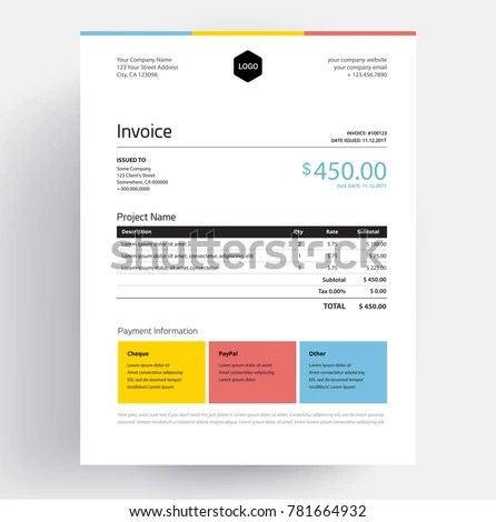 Invoice Template Colorful Design Minimal Style Stock Vector - invoice style