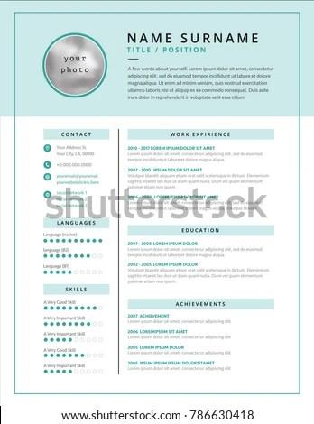 Medical CV Resume Template Example Design Stock Vector (2018