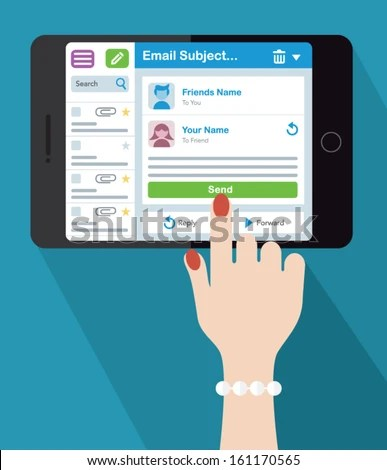 Woman Emailing On Tablet Device Stock Vector (Royalty Free - emailing photo