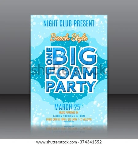 One Big Foam Party Flyer Template Stock Photo (Photo, Vector