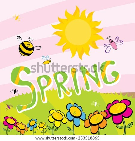Cartoon Spring Word Flowers Butterfly Vector Stock Vector (Royalty