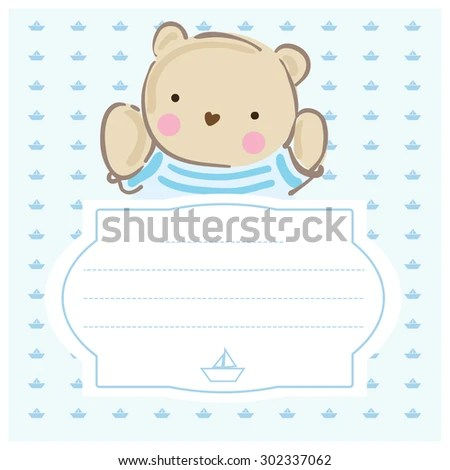 Baby Shower Invitation Template Gray Blue Stock Vector (Royalty Free