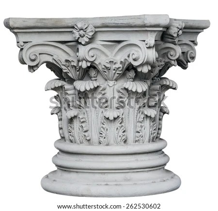 Corinthian Columns Isolated On White Background Stock Photo (Edit