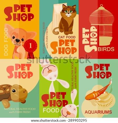 Vintage Pet Shop Poster Design Set Stock Vector 289903295 - Shutterstock