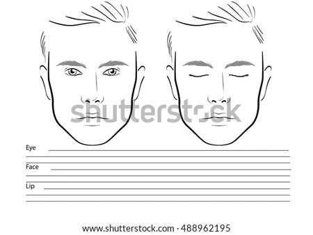 Men Face Chart Makeup Artist Blank Imagem Vetorial De Banco - eye chart template
