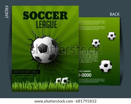 Soccer Event Flyer Template Eps 10 Football Stock Vector 681795832