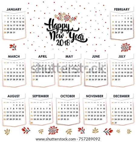 Calendar 2017 Year Vector Design Stationery Stock Vector 757289092 - yearly calendar