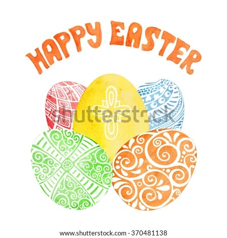 Happy Easter Greeting Card Templatewatercolor Easter Stock Vector