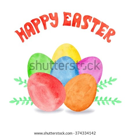Happy Easter Greeting Card Template Watercolor Easter Stock Vector