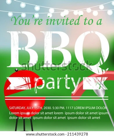 Bbq Grill Party Invitation Template Vector Stock Vector (2018 - bbq invitation template