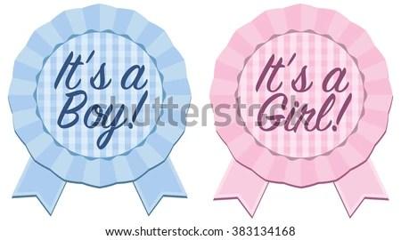 Baby Announcement Rosette Ribbon Boy Girl Stock Vector 383134168