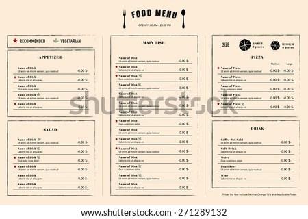 Restaurant Menu Design Template Layout Logo Stock Vector 271289132