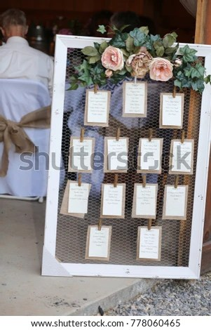 Wedding Photography Rustic Seating Chart Floral Stock Photo (Royalty