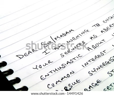 Handwritten Writing Letter On Plain White Stock Photo (Download Now - lined letter paper