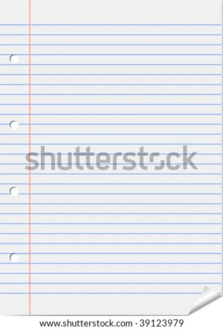 Vector Notebook Lined Paper Background Template Stock Vector - lined page