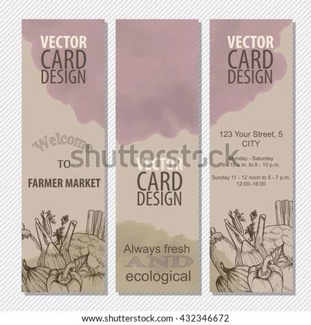 Organic Food Concept Brochure Flyer Template Stock Vector 432346672 - retro brochure template