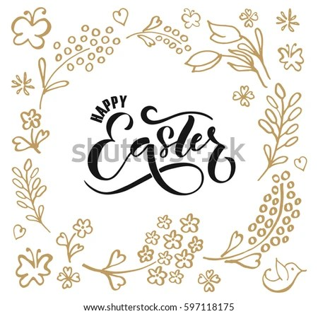 Hand Sketched Happy Easter Text Easter Stock Vector 597118175